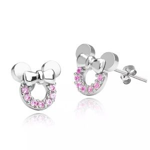 Minnie Mouse Pink 925 Silver Earrings Girl's